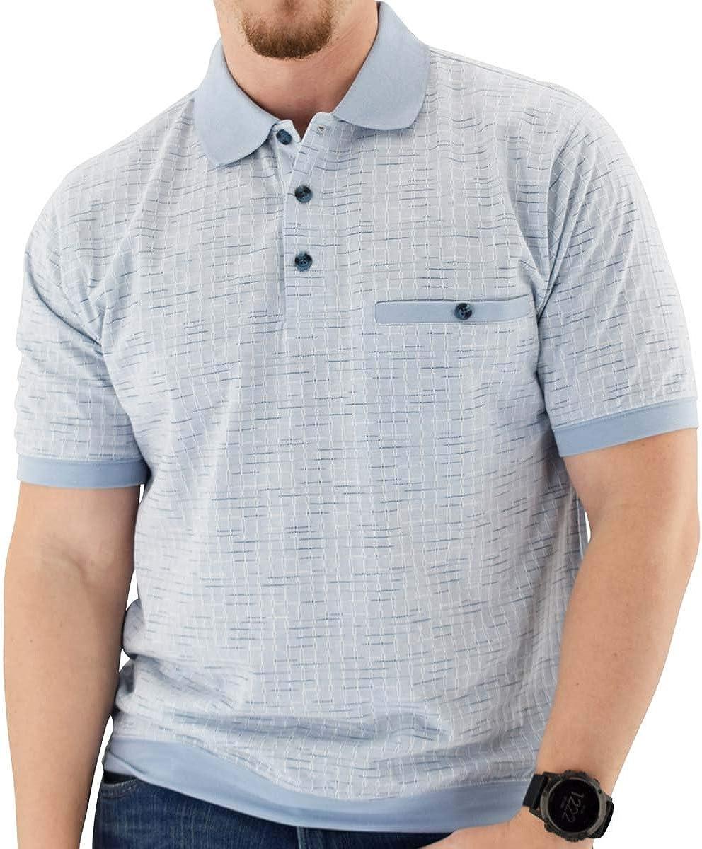 Classics by Palmland Short Sleeve 3 Button Banded Bottom Knit Collar Shirt - LtBlue