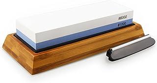 Knife Sharpening Stone, Double Sided Japanese Style Honing Whetstone with Silicone Bamboo Non-slip Base, 1000/6000 Grit Waterstone