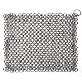 Hulless Chainmail Scrubber 8x6 inch Stainless Steel Cast Iron Cleaner, Durable Anti-Rust Scrubber for Pots, Skillets, Griddle Pans, BBQ Grills and More, with Hanging Ring.
