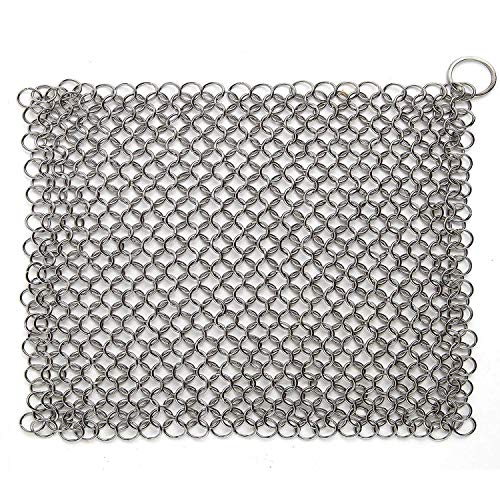 Hulless Chainmail Scrubber 8x6 inch Stainless Steel Cast Iron Cleaner Durable Anti-Rust Scrubber for Pots Skillets Griddle Pans BBQ Grills and More with Hanging Ring