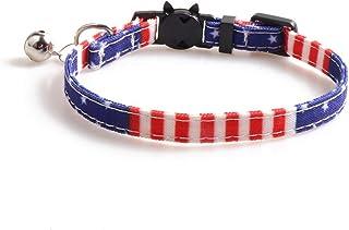 アメリカの国旗犬猫の首輪と蝶ネクタイのチャームかわいいスターストライププリント子犬猫離脱首輪-Black-1.0x28CM