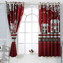 Christmas Living Room Curtains 2 Panel Sets Winter Holidays Theme Gingerbread House with Trees and Snowflakes Artwork Print Home Decor Blackout Curtains W96 x L84 Inch Red White
