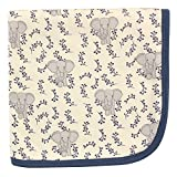 Touched by Nature Unisex Baby Organic Cotton Swaddle, Receiving and Multi-purpose Blanket, Blue Elephant, One Size