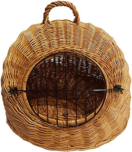 Bcaer Liu cat basket light brown movable metal mesh basket transport shipping box cats Cats hell,Wood color