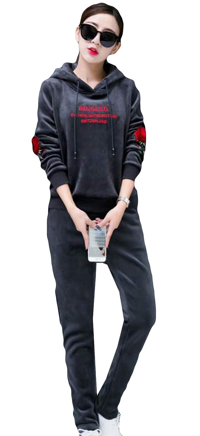 ミニチュア確かな第二にレディース セットアップ スポーツウェア 長袖 パーカー+ロングパンツ 厚い 秋冬 春服 フード付き 裏ボア パーカーセット 2点セット 上下セット 韓国風 カジュアル 刺繍 通勤