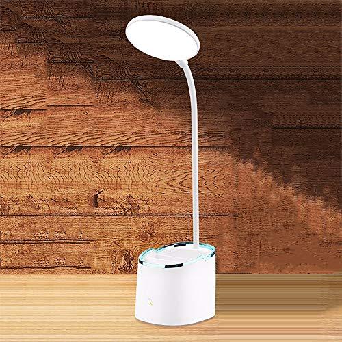 Yirunfa 360°Flexo de Escritorio luz Lámpara de Escritorio LED de Intensidad Lámpara de Mesa Control Táctil Regulable en 3 Colores Carga USB con portalápices para Leer,Estudiar