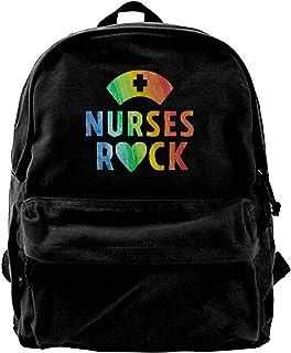 Mochila de lona para enfermeras y enfermeras de roca, regalos para gimnasio, senderismo, portátil, bolsa de hombro para ho...