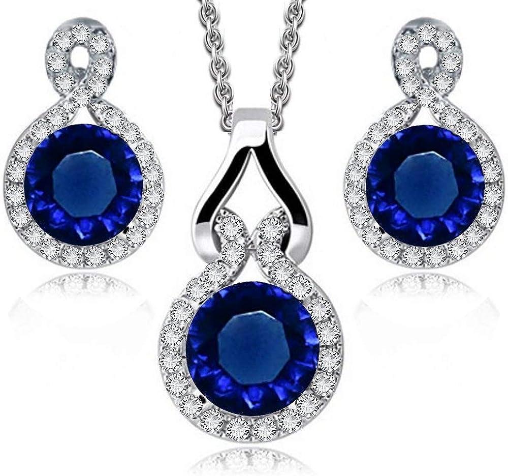 Crystalline Azuria Round Blue Simulated Sapphire Zirconia Crystals Set Pendant Necklace 18