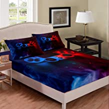 Gamer Fitted Sheet, Red and Blue Video Games Player Gaming Bedding Sets,Queen for Kids Boys Game Room Decor Fitted Bed She...