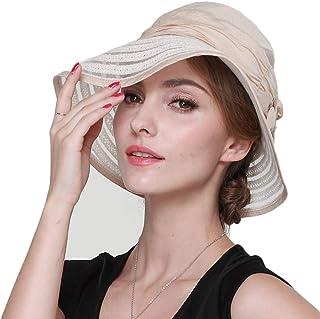 女性の日曜日の帽子、夏の紫外線対策サンバイザー折りたたみ屋外旅行 つばの広いビーチハット,調整可能なバケツキャップ