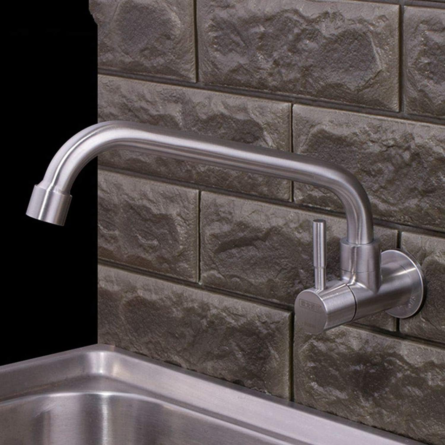 FZHLR Single Handle Brushed Surface Kitchen Sink Tap 304 Stainless Steel Single Cold Water Faucet Brushed Wall Mounted