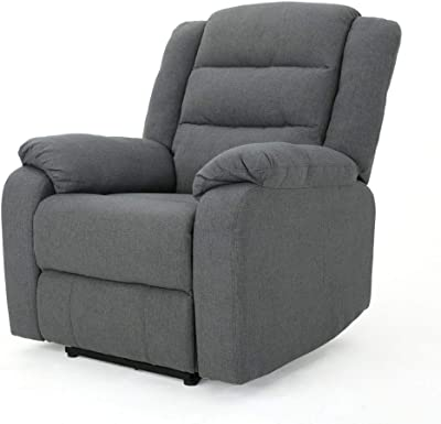 Christopher Knight Home Adrianne Cushioned Fabric Power Recliner, Charcoal / Black