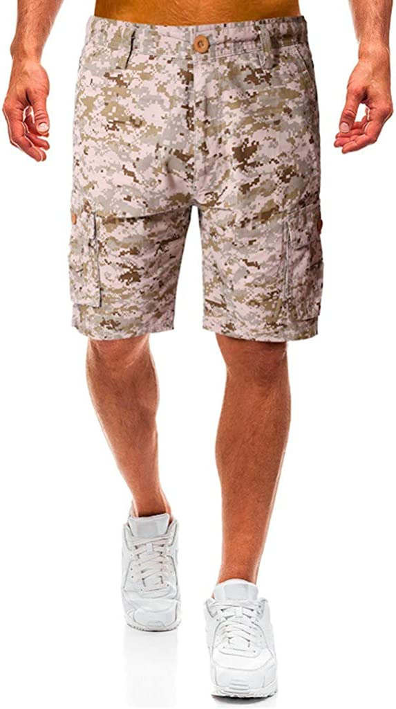 Cargo Shorts Forthery Men's Casual Camouflage Outdoors Pocket Beach Work Relaxed Fit Trouser Cargo Shorts Pant