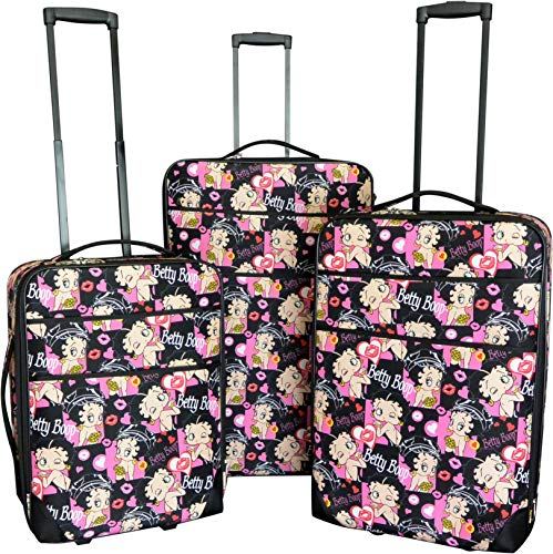 Betty Boop Luggage Set with Carry on Size. 20', 24', 28', 3 Pieces A Set. Expandable, Lightweight (Betty-Kiss-Lips)