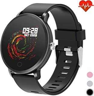 """moreFit 1.3"""" Round Smart Watch with Heart Rate Blood Pressure Monitor, Fitness Tracker Watch Activity Tracker for Men, Waterproof Fitness Watch Sleep Monitor Step Counter Sport Watches for Women"""