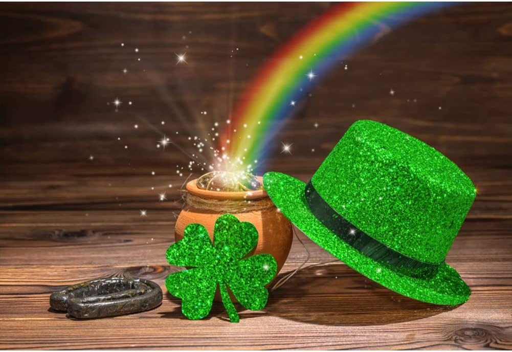 DORCEV 5x5ft Happy Saint Patricks Day Backdrop St Patricks Day Party Photography Background Gold Coin Rainbow Leprechaun Hat Wooden Floor Festival Party Banner Kids Adults Photo Studio Props