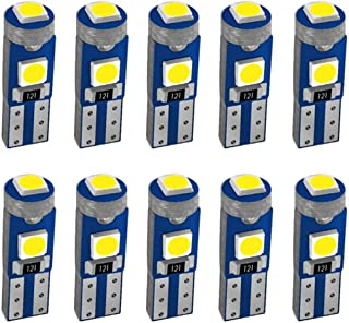 Turbobm 10pcs T5 B8.5D 5050 LED 1 SMD Indicator Car Dashboard Side Interior Light Bulbs 12V Car Light Car Dashboard Light Bulbs