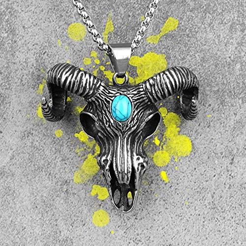 NC110 Demon Sheep Head Skull Long Men Necklace Pendant Chain Punk for Boyfriend Male Stainless Steel Jewelry Creativity Gift 60cm