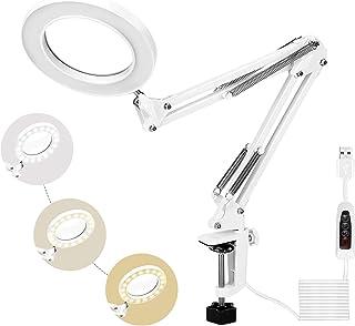 HOLULO Lámpara de Escritorio,5X Lámpara Lupa con Luz y Abrazadera de Metal,72 LED Lupa Pinza de 3 Modos de Colores, Manguera de Metal Ajustable Regulable (Blanco)
