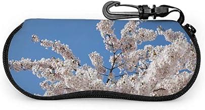 Blue Sky Spring Blossom Flower Sunglass Bolsa de viaje Sunglass Holder Case Light Cremallera portátil Estuches suaves Estuche para anteojos