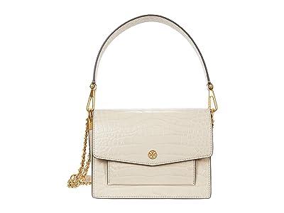 Tory Burch Robinson Embossed Double-Strap Convertible Shoulder Bag (Jamaica Sand) Handbags