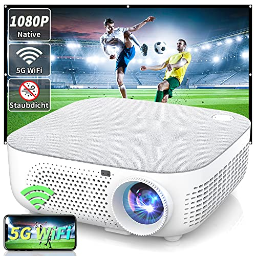 WISELAZER Beamer Full HD Beamer 4K Native 1080P, Versiegelt und staubdicht Beamer Outdoor WiFi HD LED Heimkino Video Projektor, Kompatibel mit HDMI / USB / TV-Box / Smartphone / Laptop