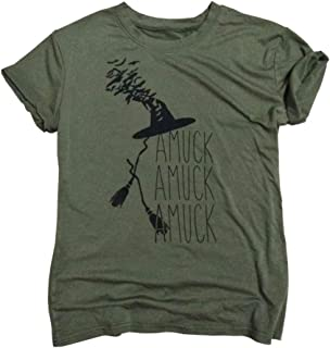 ALLTB Amuck Amuck Amuck Womens Halloween T Shirts Ladies It's Just A Bunch of Hocus Pocus Witch Hat Fall Graphic Tee Tops