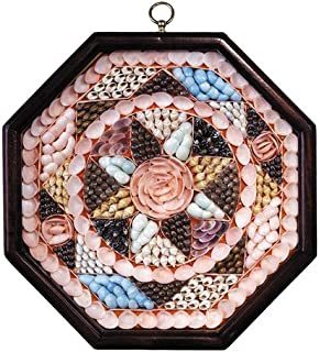 Sailor's Valentine Windrose, Shells Craft, Museum Art in French Finish Frame - Natural Shells Frame, Hand Made Shell Design in Mahogany Frame, Nautical and Marine Decor - 10 x 11.25 x 2.25 in