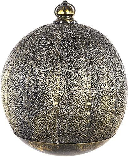 habeig Orientalische Laterne #423 aus Metall 39 x 33 cm groß | Arabische Gartenlaterne für draußen, Innen als Bodenlaterne | Gartenwindlicht Windlicht hängend oder zum Hinstellen