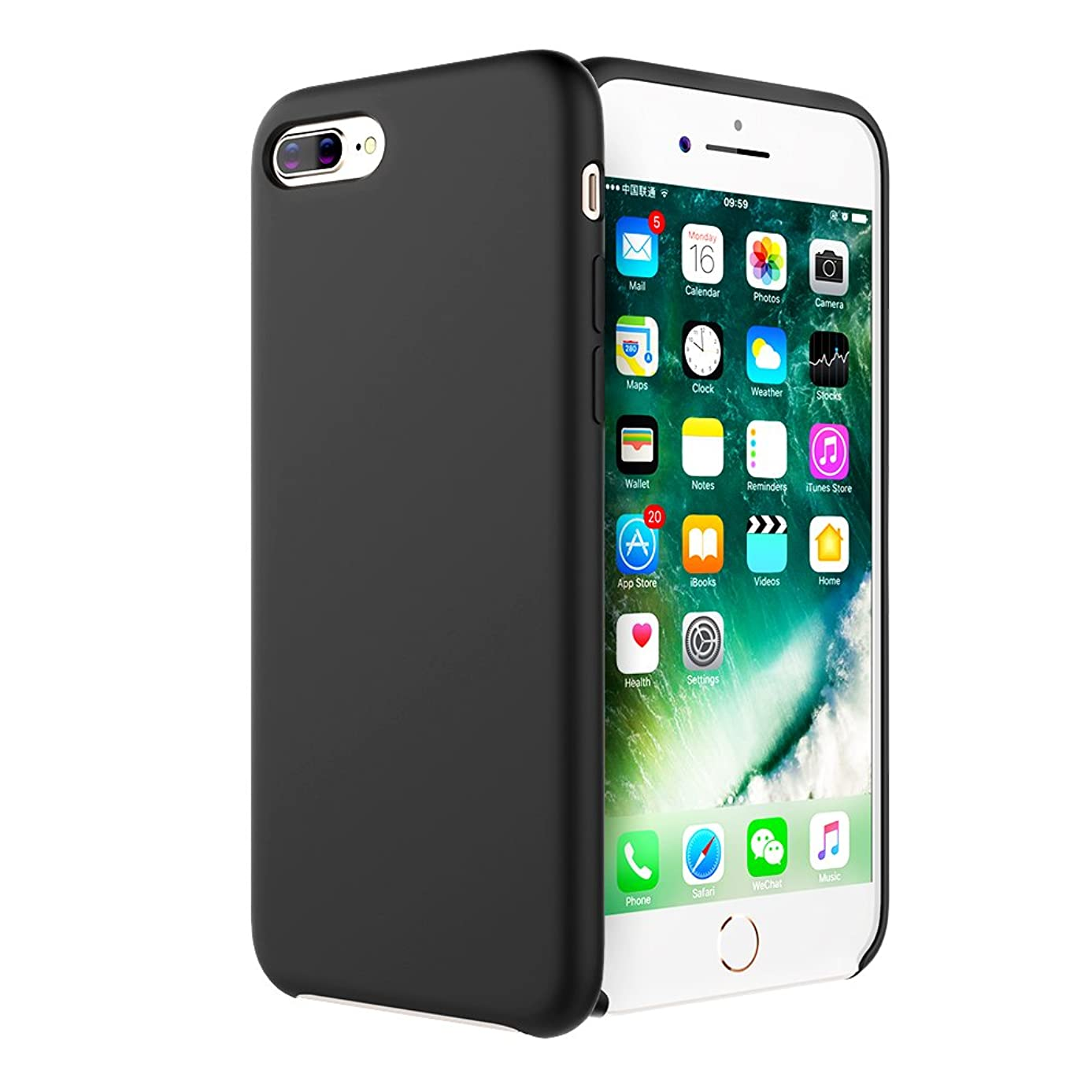 iPhone 8 Plus case, Moleboxes iPhone 7 Plus case Silicone Slim Fit Rugged Case Heavy Duty Protection Shockproof Soft Touch Drop Protection Anti-Scratch (Black)