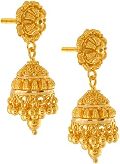 P.C. Chandra Jewellers 22KT Yellow Gold Jhumki Earrings for Women