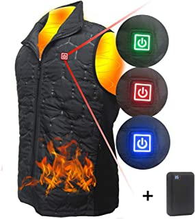 Winter Warm USB Heated Jacket, 3 Level Electric Heating Vest Infrared Waterproof Adjustable Jacket Clothing, Heating up to 8 Hours for Sports Sking Hiking