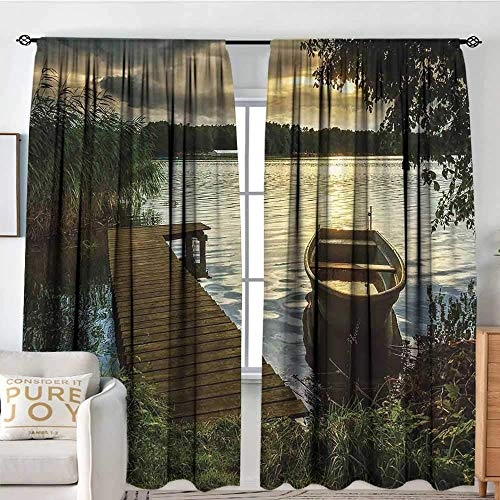 Blackout Curtains Seascape,Boat at Lake Shore with Wooden Pier Sunset Sunbeams Romantic Evening,Brown Dark Green Yellow,for Room Darkening Panels for Living Room, Bedroom, 52 x 96 Inch