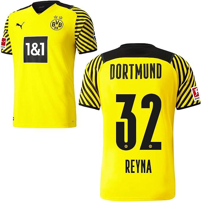 PUMA Borussia Dortmund BVB - Maglia da calcio 2021 2022, con logo Sponsor BL per uomo e bambino, colore: giallo