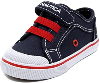 Nautica Kids Calloway Canvas Sneakers Adjustable Straps Bungee Straps Casual School Shoes-Navy/RED-6