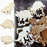 Dinosaur Cookie Cutters Set with Fossil Stampers Fondant Biscuit Cutter for Cake DIY Mould Dinosaur Shape Baking Moulds for Kids Children Pack of 3 (White)
