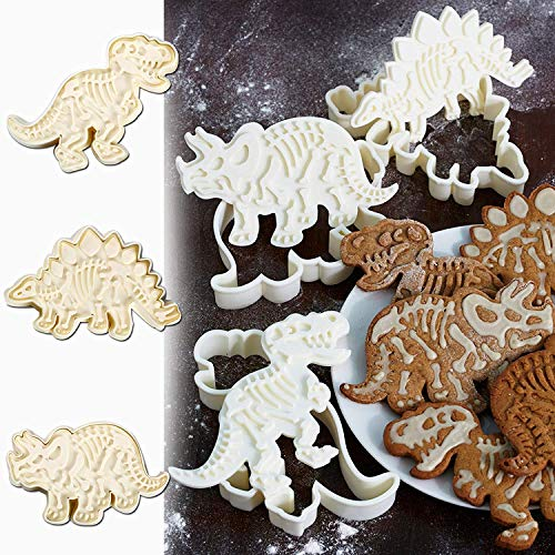 3D Dinosaur Cookie Cutters Set with Fossil Stampers Dinosaur Fossil Bone Pattern Mold Fondant Biscuit Cutter Dinosaur Theme Birthday Party Dinosaur Shape Baking Moulds for Cake Decoration