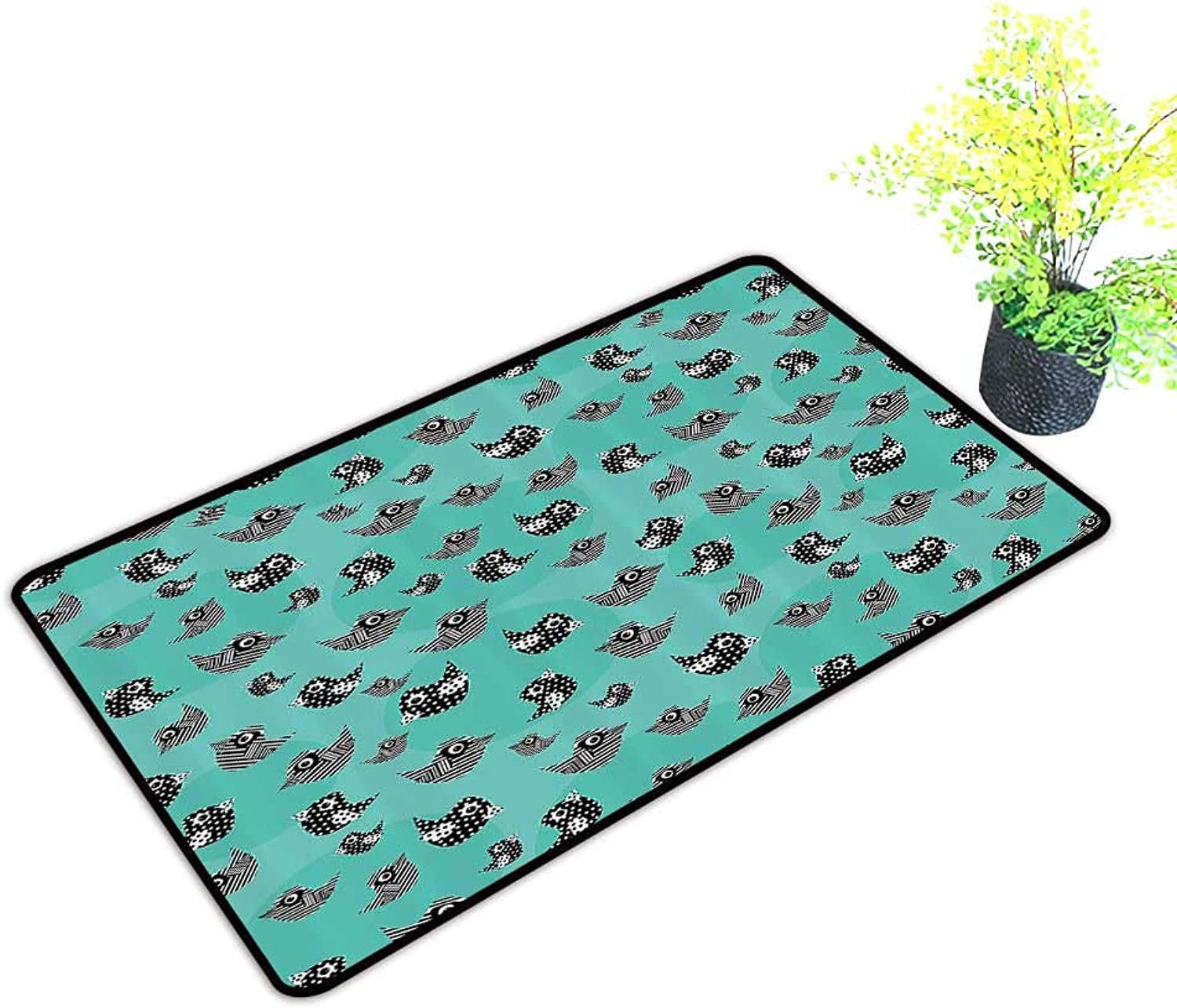 Gmnalahome Large Door Mats shoes Scraper attern of Flying Cute Birds Striped Paper Cut DIY Springtime Romantic Use for Front Door Entrance W39 x H19 INCH