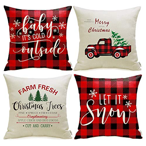 Meekio Christmas Decorations for Home Set of 4 Christmas Red Buffalo Check Pillow Covers 18 x 18 inch Christmas Truck Farmhouse Christmas Cushion Covers for Christmas Decor