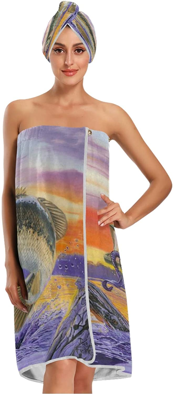 Fishing Bath Towel Wrap with Dry Adjustable Shower NEW before selling Cap Clo Oakland Mall Hair