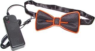 Luminous LED Bow Tie Adjustable Flashing LED Light Up Bow Tie, Novelty Party Favor Glowing Tie (Orange)