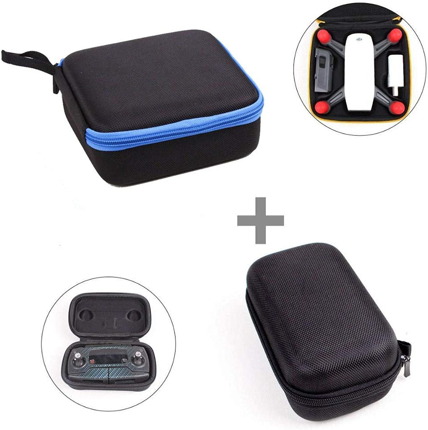 CIVIQ 2 in 1 DJI Spark Case Mini Quadcopter Cases Body Battery Storage Box Zipper Caryying Case Withe Remote Controller Bag