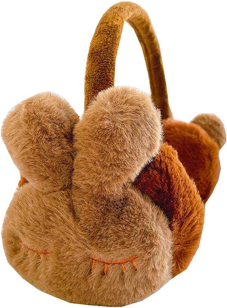 Lovely Kids Warm Winter Earmuffs Winter Ear Warmers Covers Soft Earmuffs for Cold Weather Cute Rabbit, Coffee