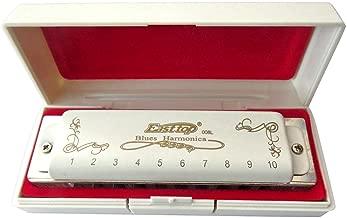 East top 10 Hole 20 Tone Professional Diatonic Blues Harmonica Key of C T008L