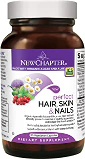 New Chapter Hair Skin and Nails Vitamins with Fermented Biotin + Astaxanthin - 60 ct Vegetarian Capsule