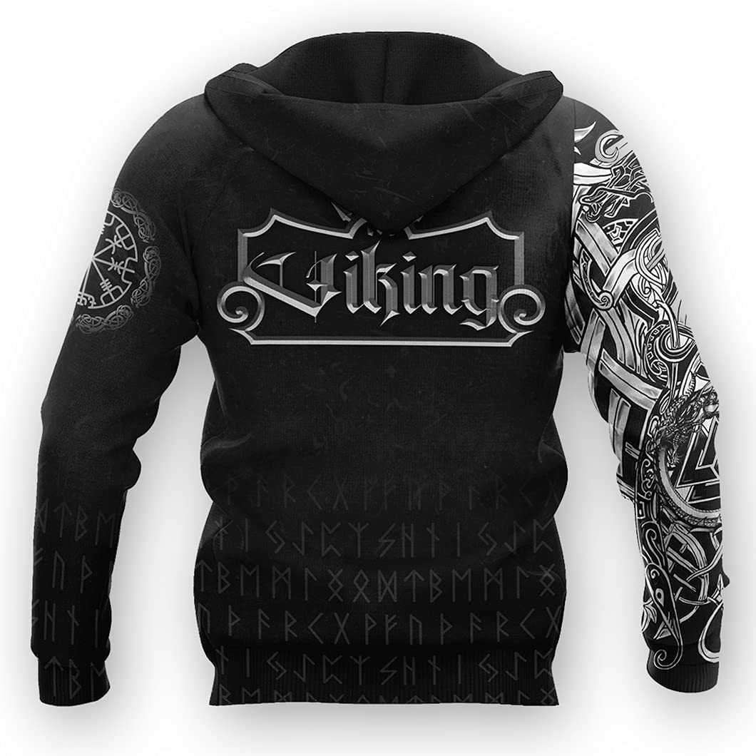 Men Viking Sweaters 3D Print Jormungandr Tattoos Casual Oversized Hoodie Norse Myth Autumn with Big Pockets Loose Jacket