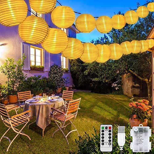 LED Lampion Lichterkette Außen, 30er 8 Modi Lampion LED Lichterketten, USB/Batteriebetriebe und IP65 Wasserdicht LED Laterne Lichter Dekoration mit Timer für Garten, Hof, Hochzeit, Fest Deko
