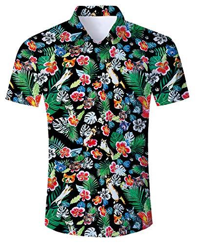RAISEVERN Camisa Hawaiana para Hombre Camisas de Senderismo para Abuelo Impresas en...