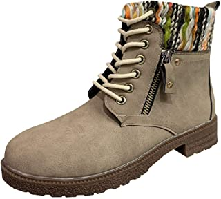 Women Lace up Short Boots Ankle, Ladies Solid Round Toe Side Zipper Suede Warm Booties