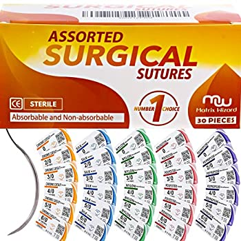 Sutures Thread with Needle  30PK Mix Absorbable  Chromic  Non-Absorbable  Silk Nylon Polyester Polypropylene  0,2-0,3-0,4-0,5-0,6-0  - Surgical Stitch Kit  Medical Vet RN s Hospital Training